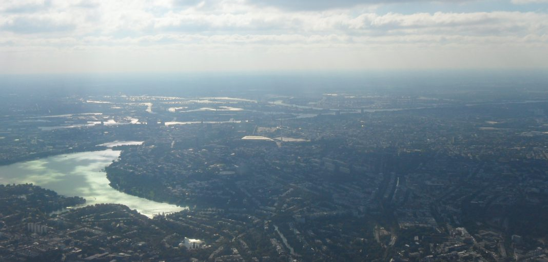 Birdseye view, Hamburg, Lake Alster